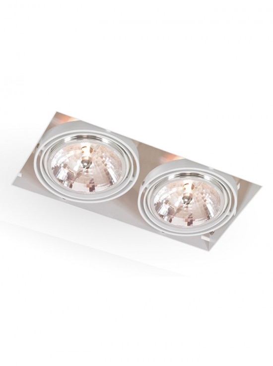 Square Trimless LED AR111 2-lichts wit  Exclusief lichtbron