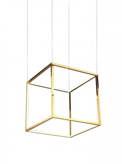 SINGLE CUBE LED hanglamp 65cm - RVS/koper